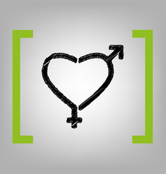 gender signs in heart shape  black vector image