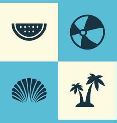 Season icons set collection of bead conch melon vector