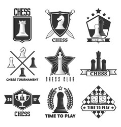 Chess tournament or club label icons vector