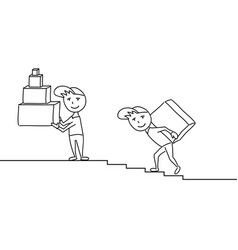 sketchy delivery men with boxes on the steps vector image