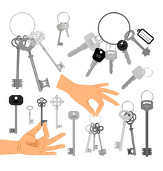 Keys with hands isolated icons set vector