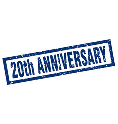 Square grunge blue 20th anniversary stamp vector