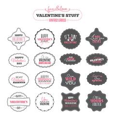 Set of Valentines day vintage labels vector image