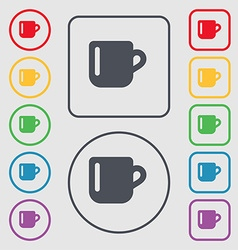 Cup coffee or tea icon sign symbol on the round vector