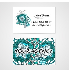 Business card template whit hand drawn ornament vector