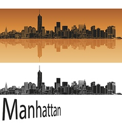 Manhattan skyline in orange vector