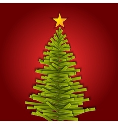Green paper christmas tree vector