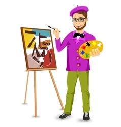 Happy male painter artist with glasses vector