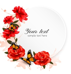Holiday background with red flowers and butterfly vector image