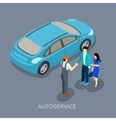 Auto service isometric mechanic customers vector