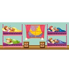 Children sleeping in bunkbed vector image