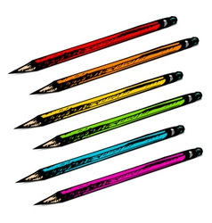 Set of colorful hand drawn pencils vector