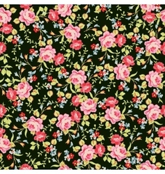 Seamless floral pattern with little pink roses on vector image