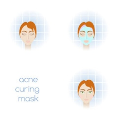 Acne curing mask vector