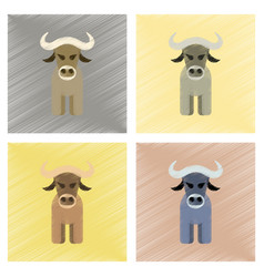 Assembly flat shading style icons cartoon bull vector