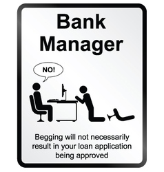 Bank manager information sign vector