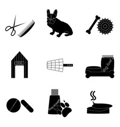 black silhouette icons set pet care vector image vector image
