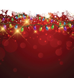 Christmas lights and snowflakes vector image vector image