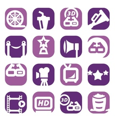 Color movie icon set vector