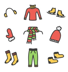 Colorful doodle winter clothes set vector