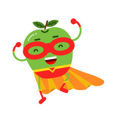 Cute cartoon smiling apple superhero in mask and vector