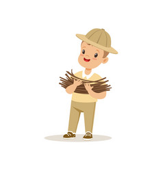 Cute little boy in scout costume bringing some vector