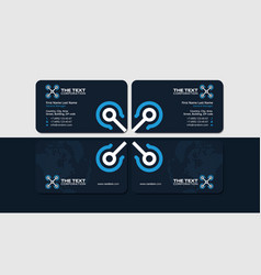 dark business card with blue quadrocopter vector image vector image