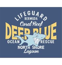 Deep blue shark vector image