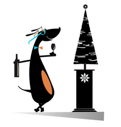 Dog keeps christmas and new year day isolated illu vector