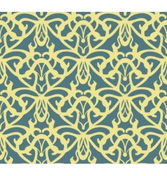 Elaborate golden vintage seamless pattern on blue vector