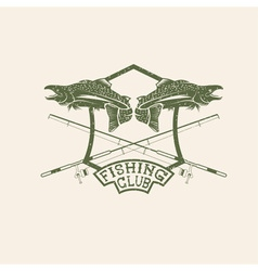 grunge fishing club crest with salmon vector image