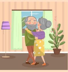 Happy senior couple dancing at home vintage cozy vector
