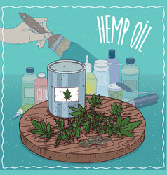 Hemp seed oil used for paint manufacture vector