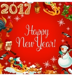 New Year poster with holiday symbols vector image vector image