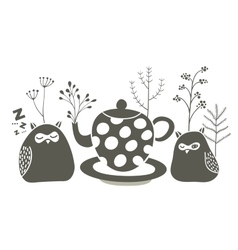 Owls ant the tea vector