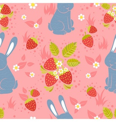 Rabbits and wild strawberries seamless pattern vector image