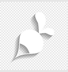 Radish simple sign white icon with soft vector