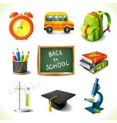 Realistic school education icons set vector