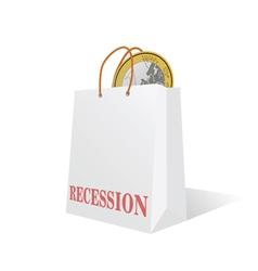 Recession with euro coin color vector