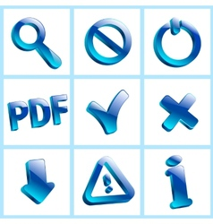 set glass icons button stop optical vector image
