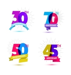 Set of anniversary numbers design 30 70 vector
