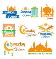 Set of ramadan icons vector