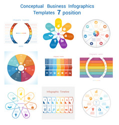 Set templates infographics for seven positions vector
