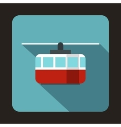 Ski lift icon in flat style vector