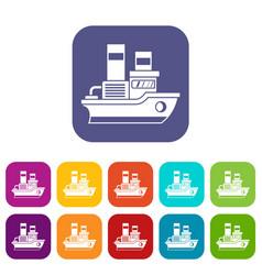 Small ship icons set vector
