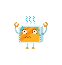 Stressed little robot character vector