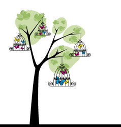 Tree with butterflies 3 vector