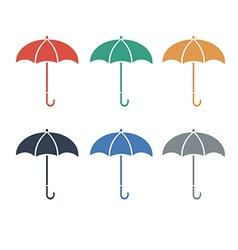 Umbrellacolor flat color set vector image vector image