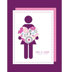 Vibrant floral scaterred woman in love silhouette vector