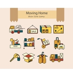 Warehouse logistic thin line icons vector image